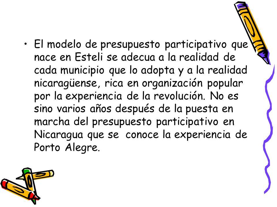 El modelo de presupuesto participativo que nace en Esteli se adecua a la realidad de cada municipio que lo adopta y a la realidad nicaragüense, rica en organización popular por la experiencia de la revolución.