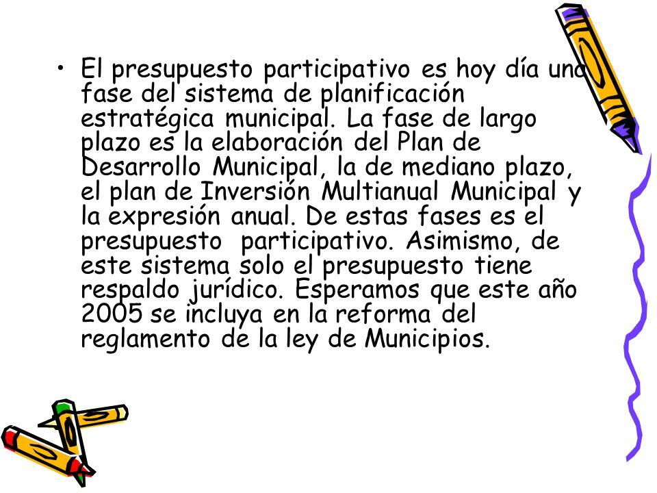 El presupuesto participativo es hoy día una fase del sistema de planificación estratégica municipal.