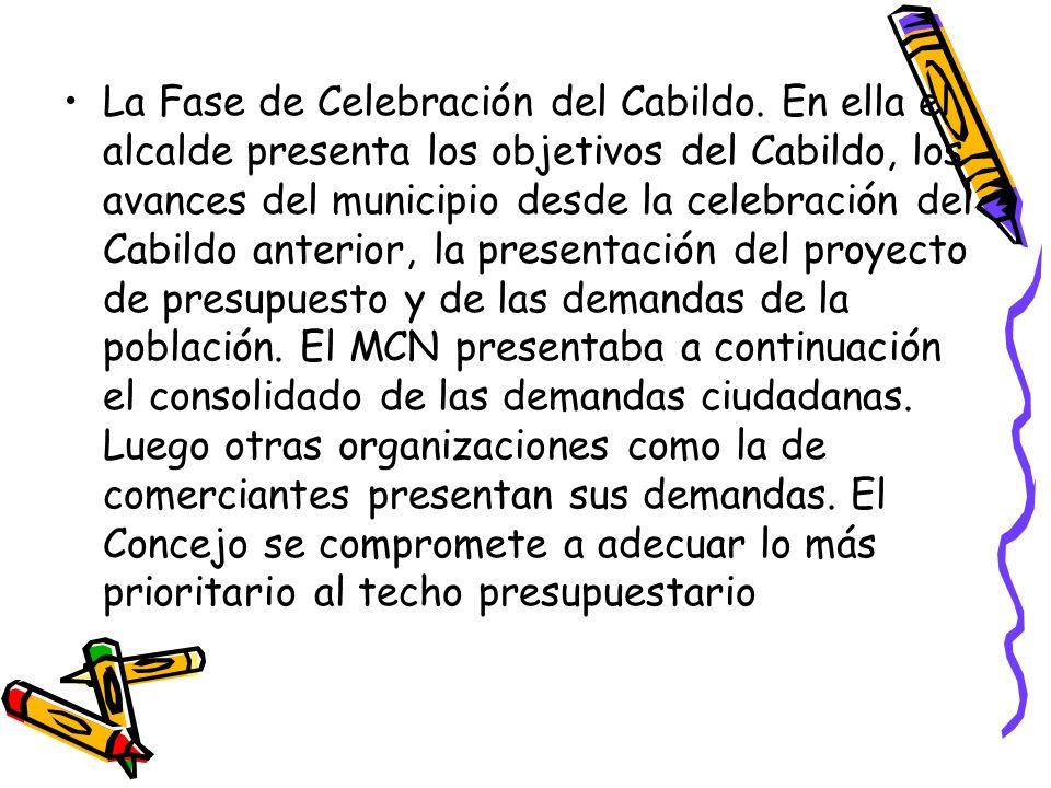 La Fase de Celebración del Cabildo