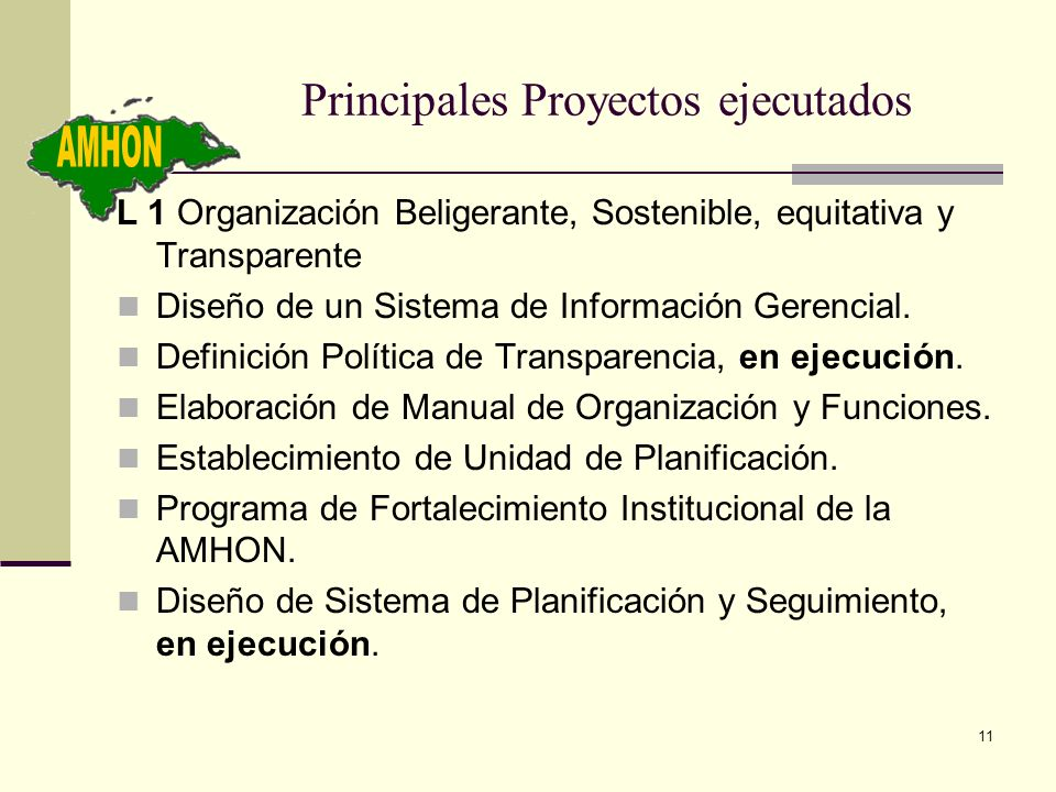 Principales Proyectos ejecutados