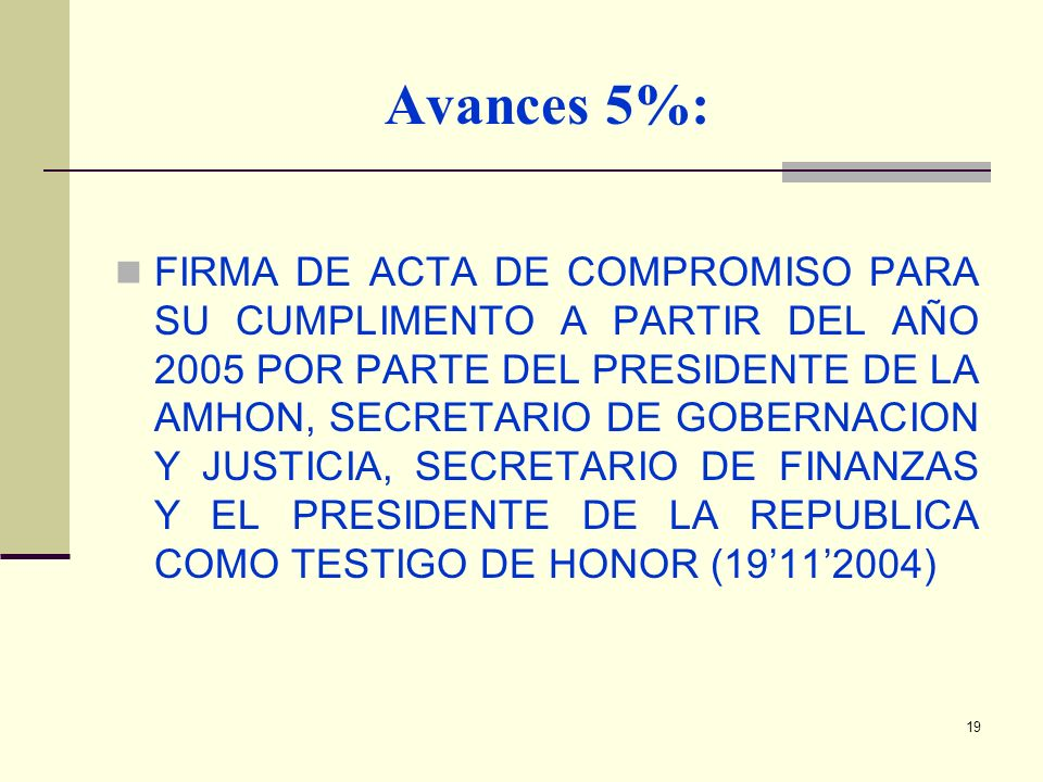 Avances 5%: