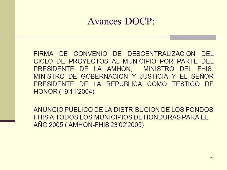 Avances DOCP: