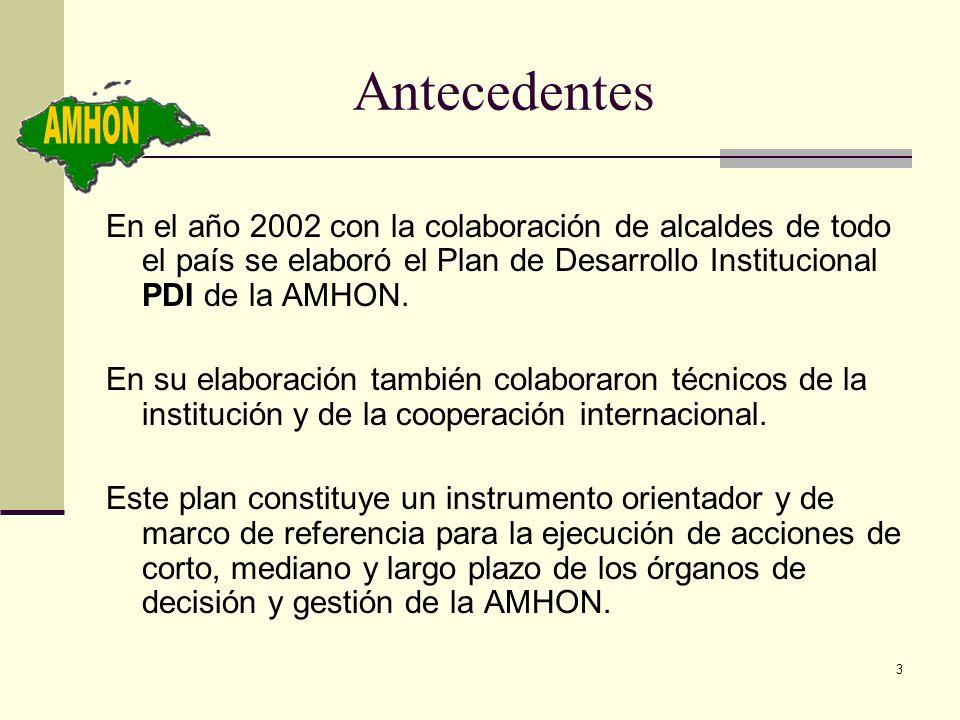 Antecedentes AMHON. En el año 2002 con la colaboración de alcaldes de todo el país se elaboró el Plan de Desarrollo Institucional PDI de la AMHON.
