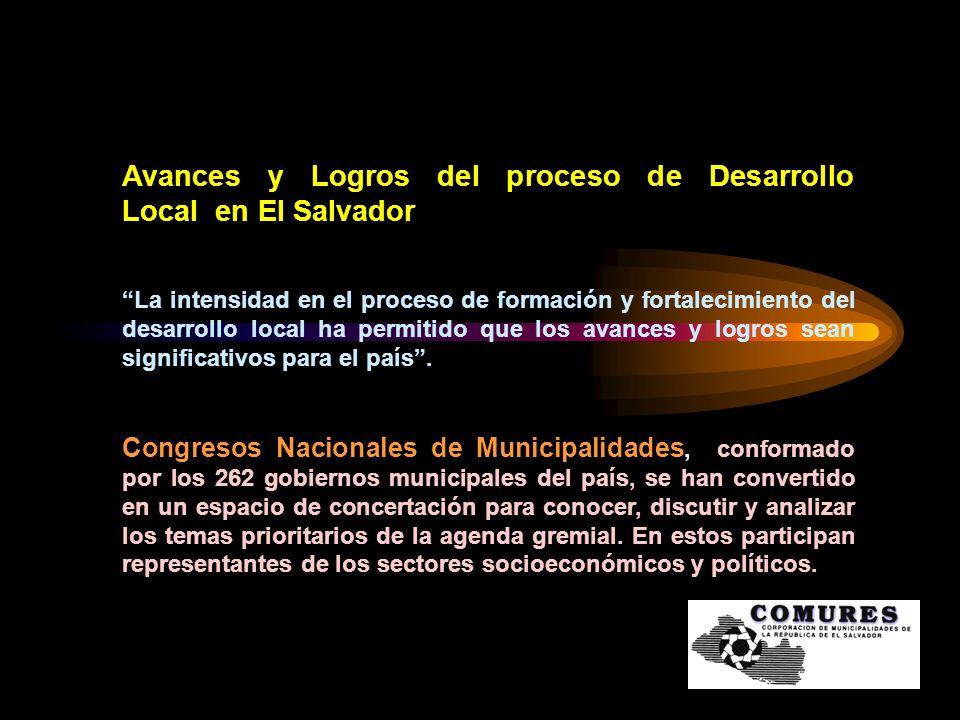 Avances y Logros del proceso de Desarrollo Local en El Salvador
