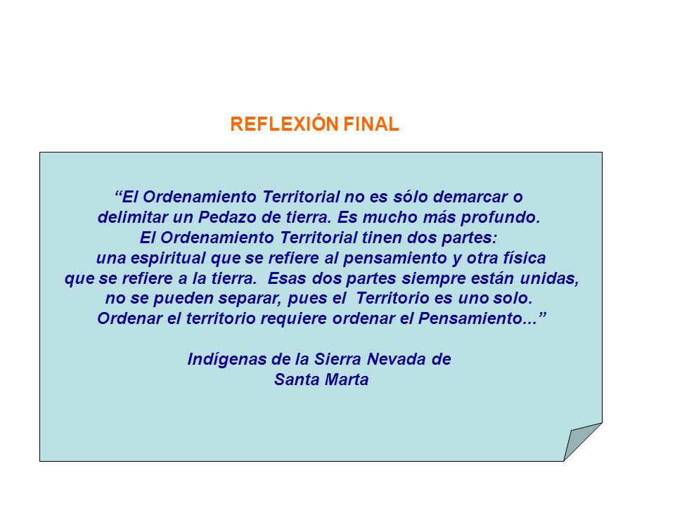 REFLEXIÓN FINAL El Ordenamiento Territorial no es sólo demarcar o