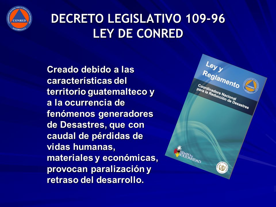 DECRETO LEGISLATIVO 109-96 LEY DE CONRED