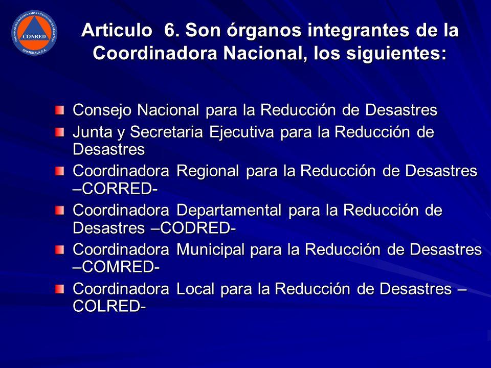 Articulo 6. Son órganos integrantes de la Coordinadora Nacional, los siguientes: