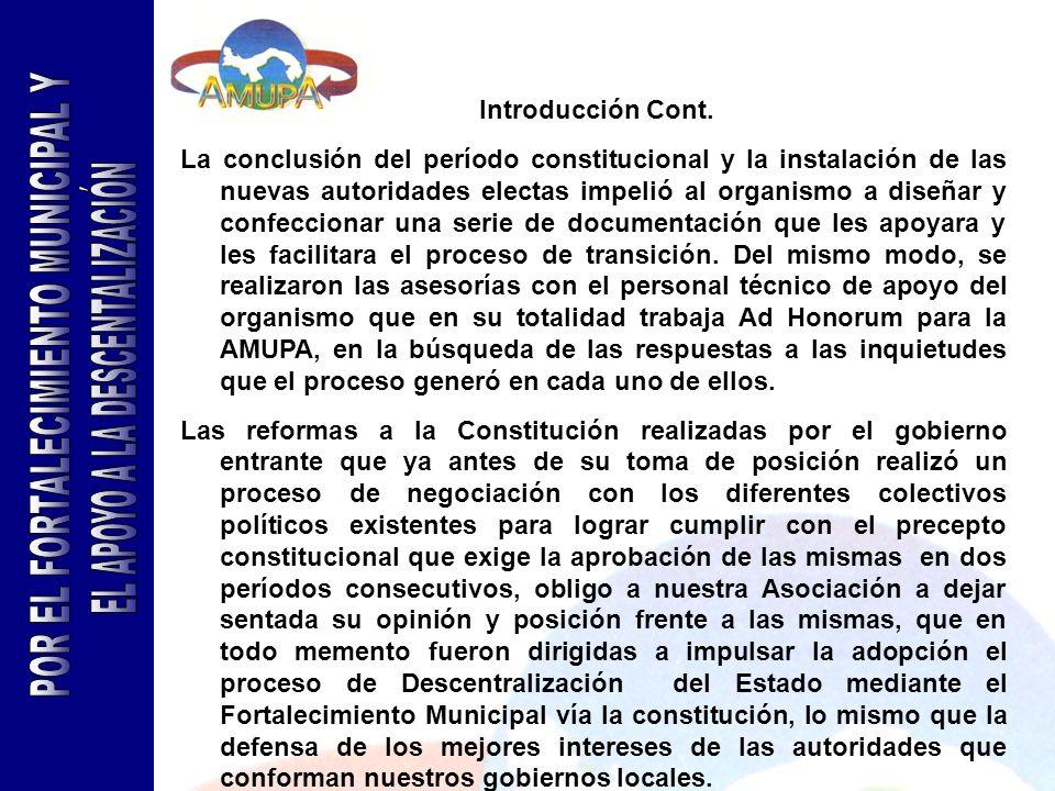 POR EL FORTALECIMIENTO MUNICIPAL Y EL APOYO A LA DESCENTALIZACIÓN