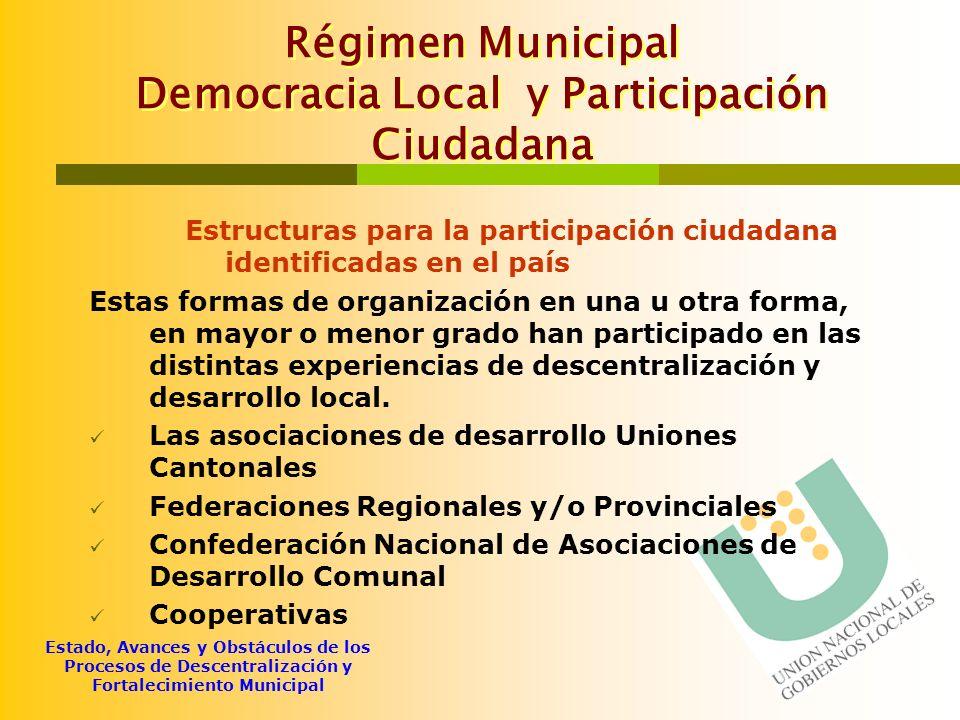 Régimen Municipal Democracia Local y Participación Ciudadana