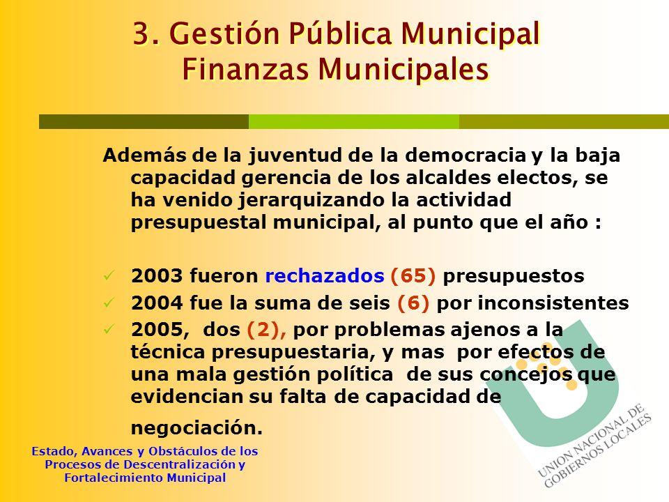 3. Gestión Pública Municipal Finanzas Municipales