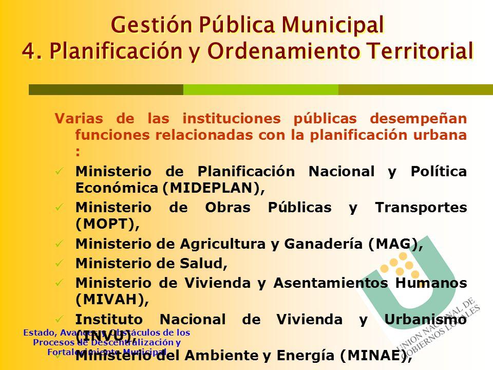 Gestión Pública Municipal 4. Planificación y Ordenamiento Territorial
