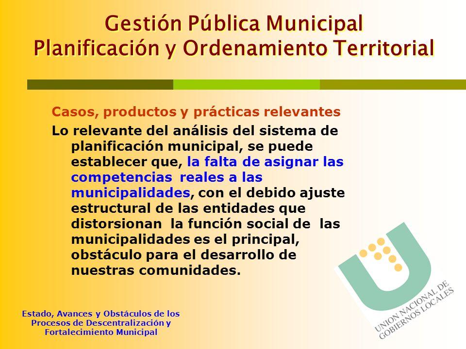 Gestión Pública Municipal Planificación y Ordenamiento Territorial