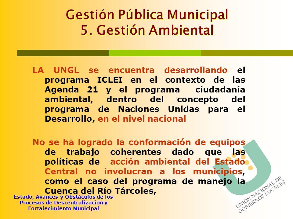 Gestión Pública Municipal 5. Gestión Ambiental