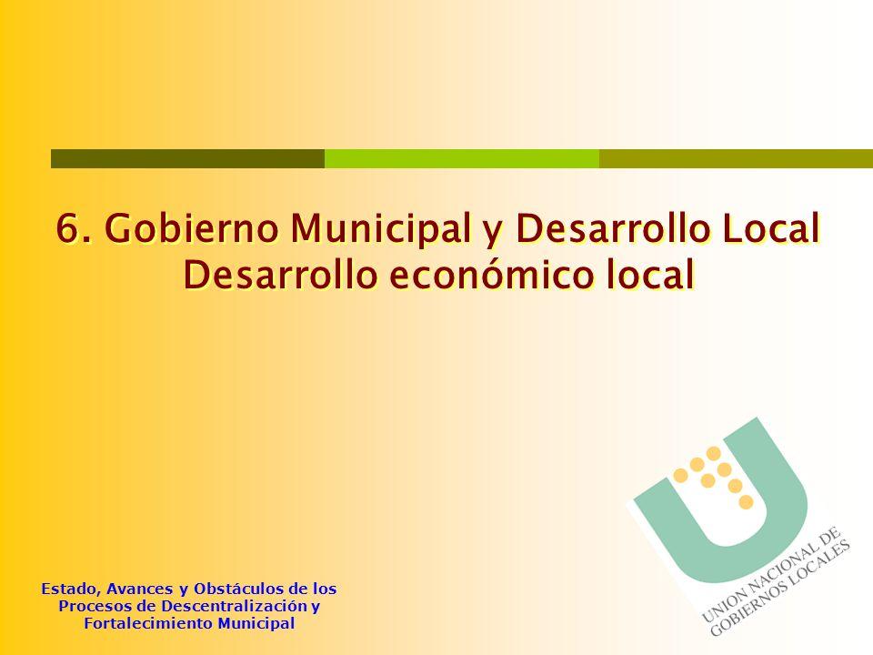6. Gobierno Municipal y Desarrollo Local Desarrollo económico local