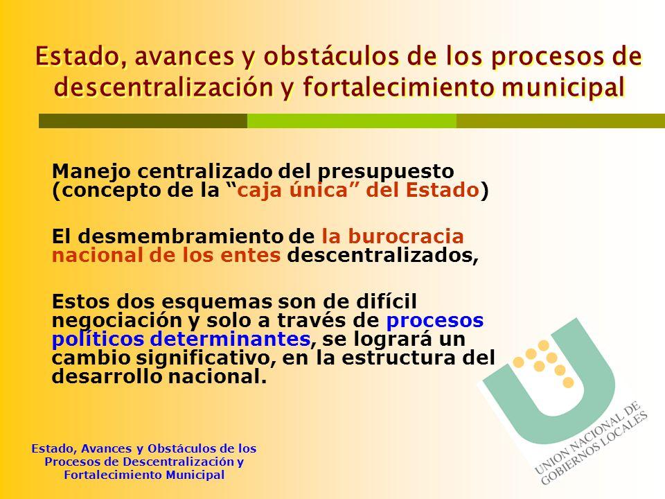 Estado, avances y obstáculos de los procesos de descentralización y fortalecimiento municipal