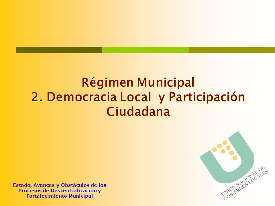 Régimen Municipal 2. Democracia Local y Participación Ciudadana