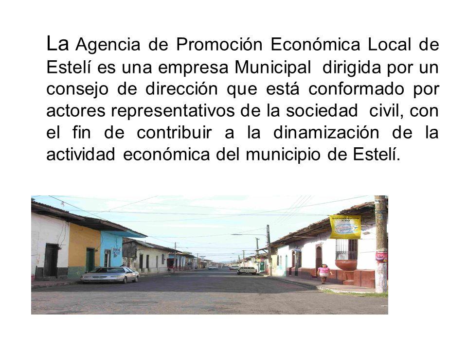 La Agencia de Promoción Económica Local de Estelí es una empresa Municipal dirigida por un consejo de dirección que está conformado por actores representativos de la sociedad civil, con el fin de contribuir a la dinamización de la actividad económica del municipio de Estelí.
