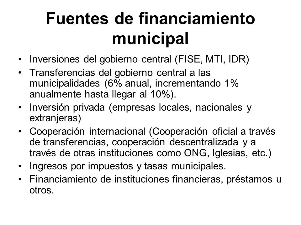 Fuentes de financiamiento municipal