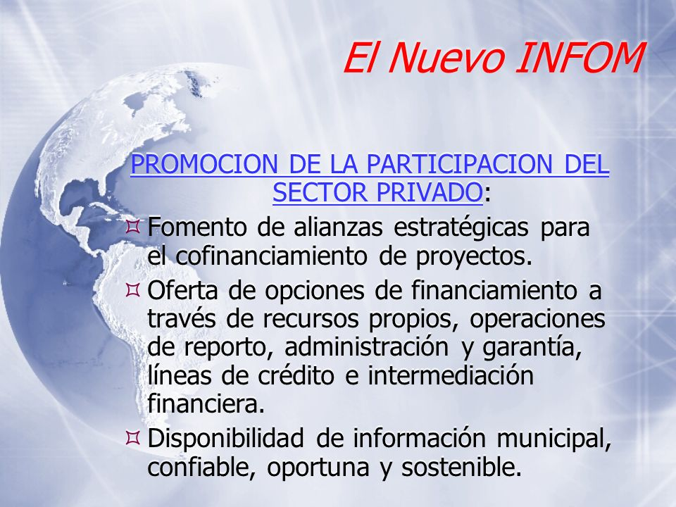PROMOCION DE LA PARTICIPACION DEL SECTOR PRIVADO: