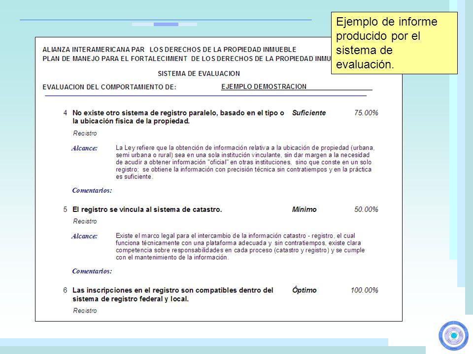 Ejemplo de informe producido por el sistema de evaluación.