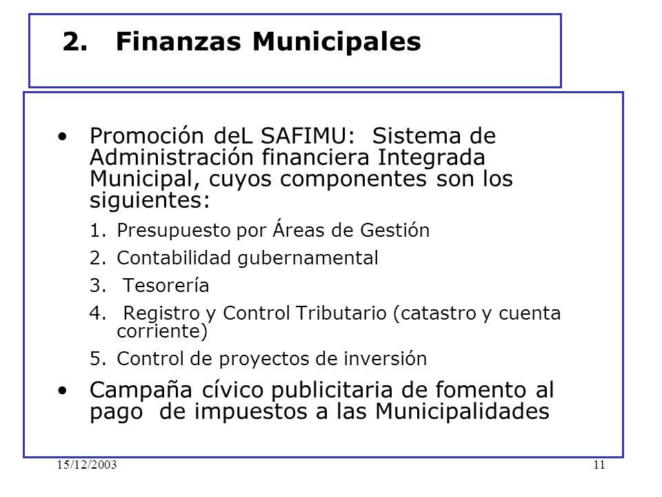2. Finanzas Municipales Promoción deL SAFIMU: Sistema de Administración financiera Integrada Municipal, cuyos componentes son los siguientes: