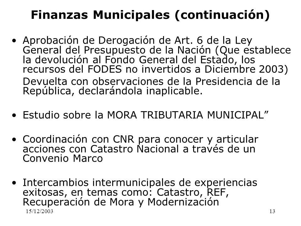 Finanzas Municipales (continuación)
