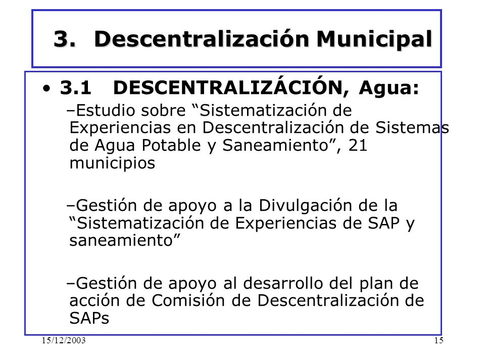 Descentralización Municipal