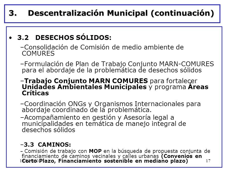 Descentralización Municipal (continuación)