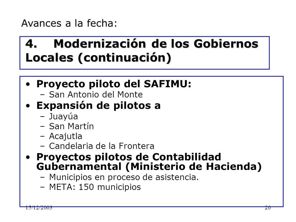 4. Modernización de los Gobiernos Locales (continuación)