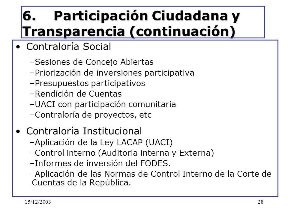 6. Participación Ciudadana y Transparencia (continuación)