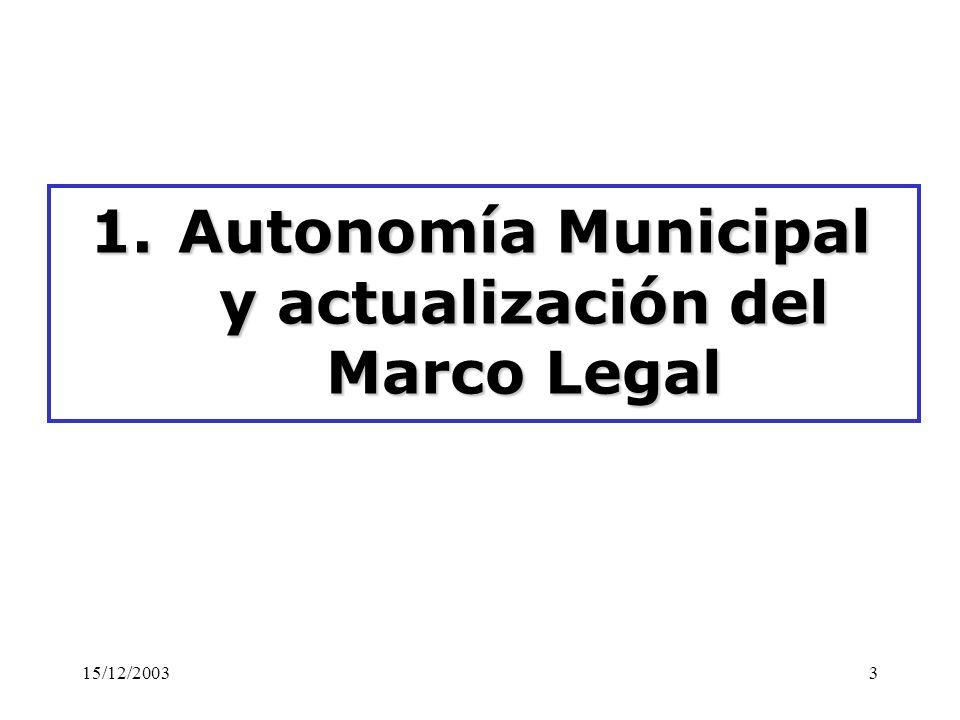 Autonomía Municipal y actualización del Marco Legal