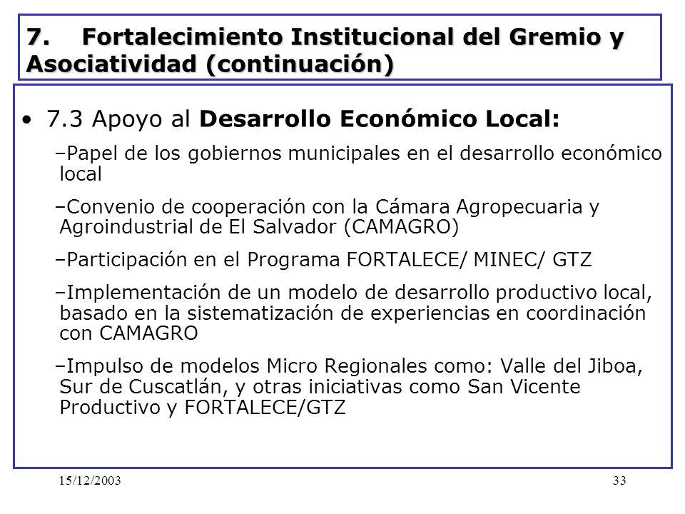 7.3 Apoyo al Desarrollo Económico Local: