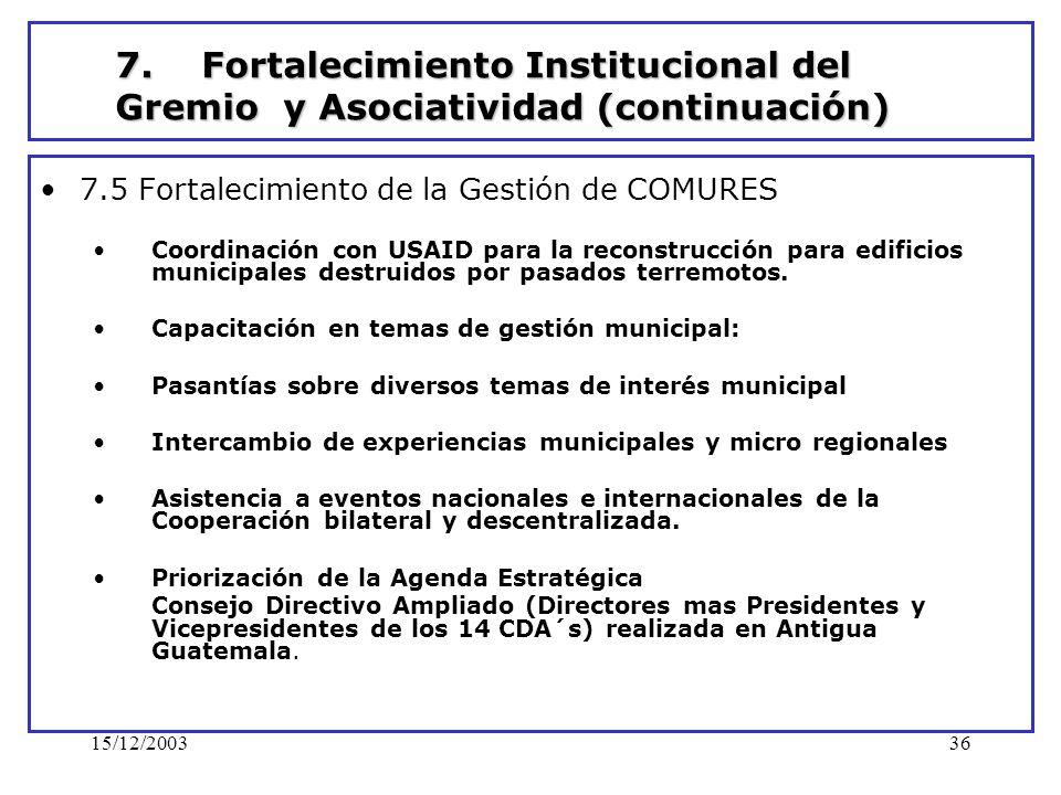 7. Fortalecimiento Institucional del Gremio y Asociatividad (continuación)