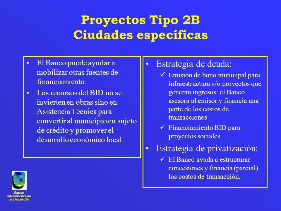 Proyectos Tipo 2B Ciudades específicas