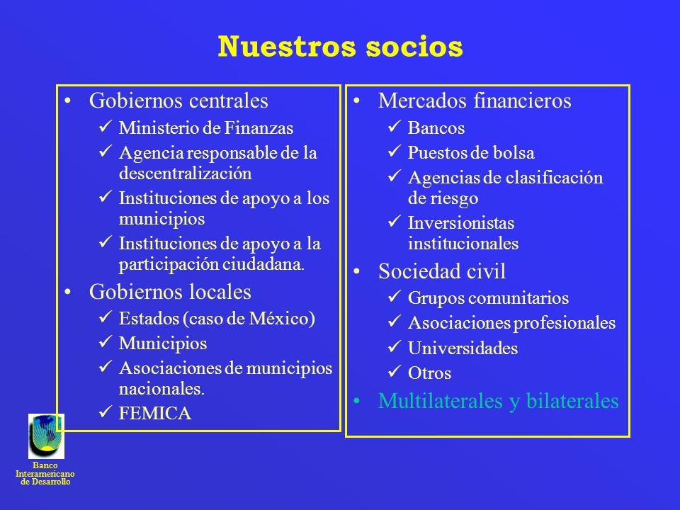 Nuestros socios Gobiernos centrales Gobiernos locales