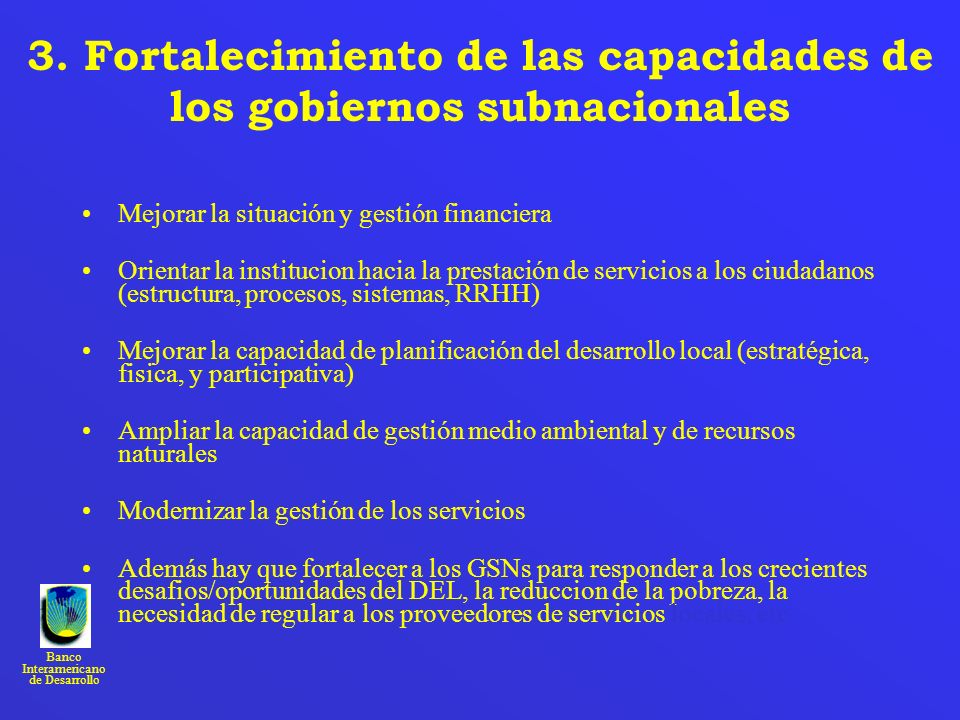 3. Fortalecimiento de las capacidades de los gobiernos subnacionales