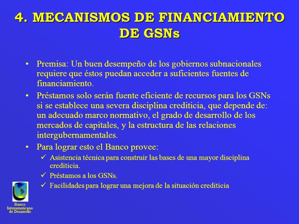 4. MECANISMOS DE FINANCIAMIENTO DE GSNs
