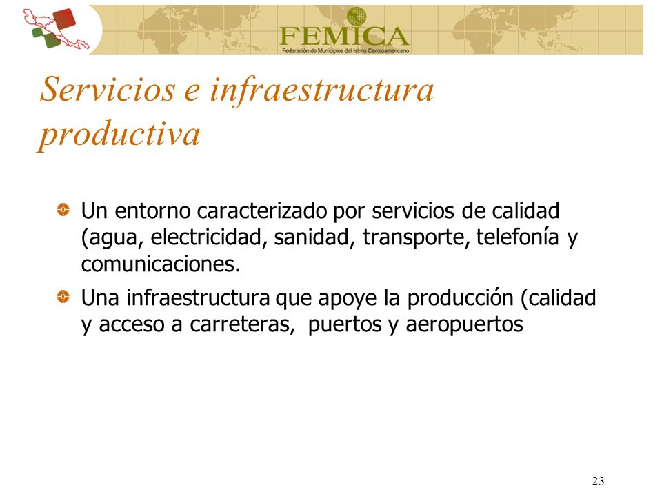 Servicios e infraestructura productiva