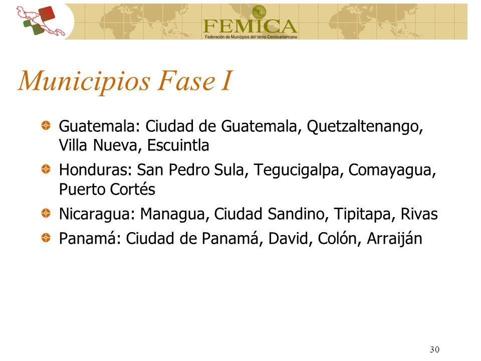 Municipios Fase I Guatemala: Ciudad de Guatemala, Quetzaltenango, Villa Nueva, Escuintla.