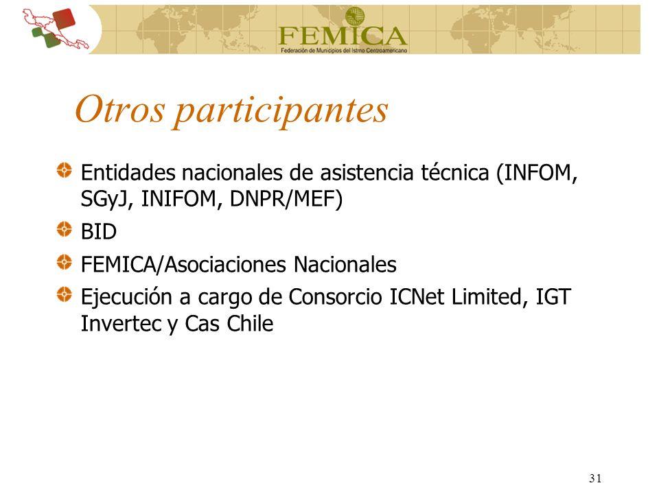 Otros participantes Entidades nacionales de asistencia técnica (INFOM, SGyJ, INIFOM, DNPR/MEF) BID.