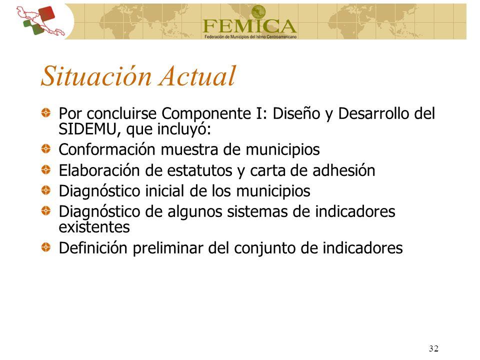 Situación Actual Por concluirse Componente I: Diseño y Desarrollo del SIDEMU, que incluyó: Conformación muestra de municipios.