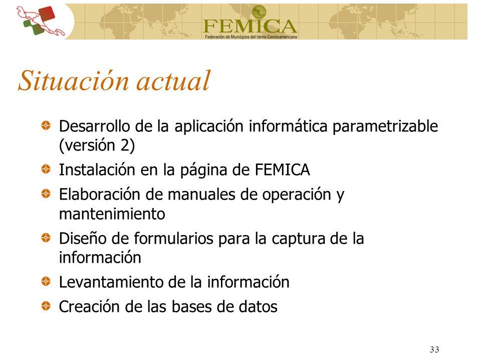 Situación actual Desarrollo de la aplicación informática parametrizable (versión 2) Instalación en la página de FEMICA.