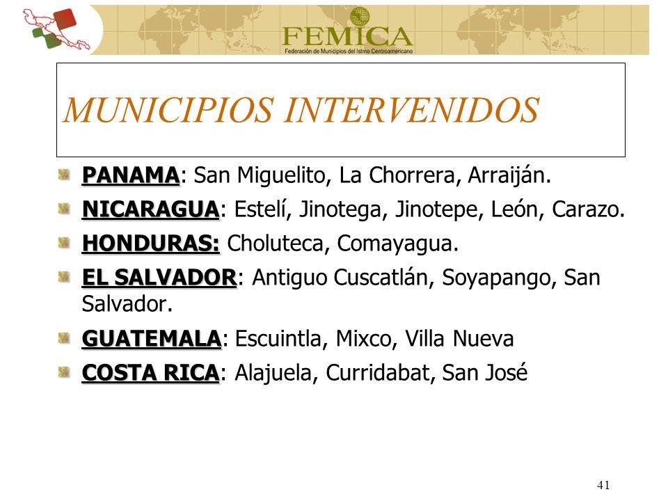 MUNICIPIOS INTERVENIDOS
