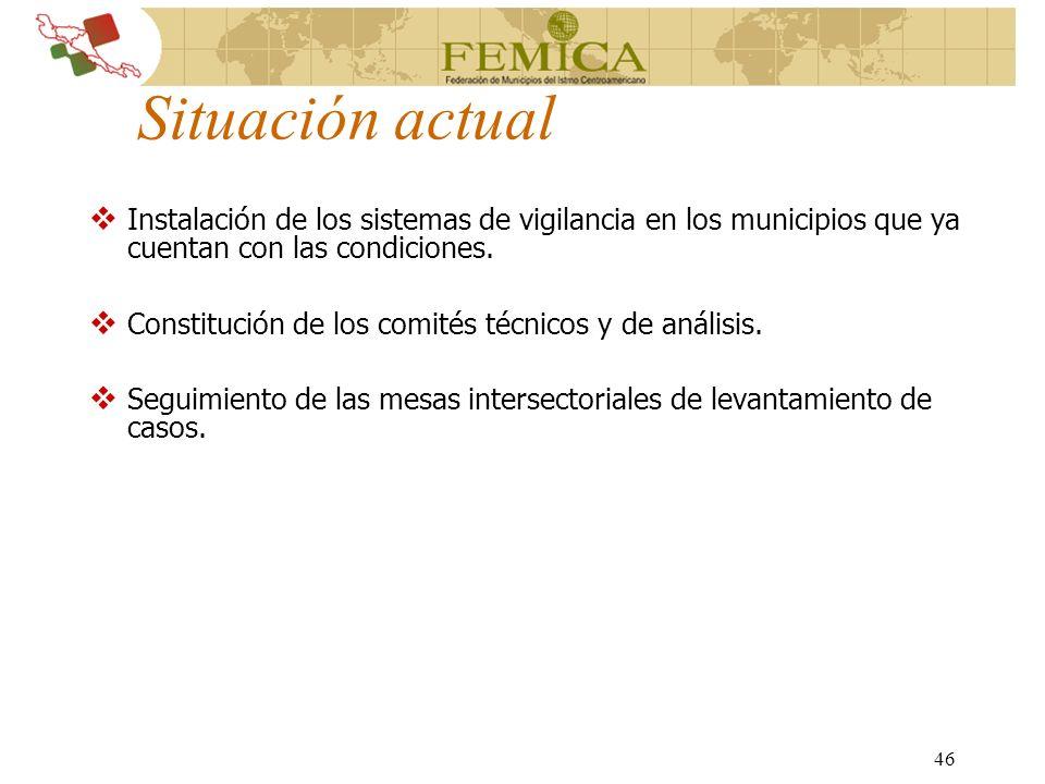 Situación actual Instalación de los sistemas de vigilancia en los municipios que ya cuentan con las condiciones.