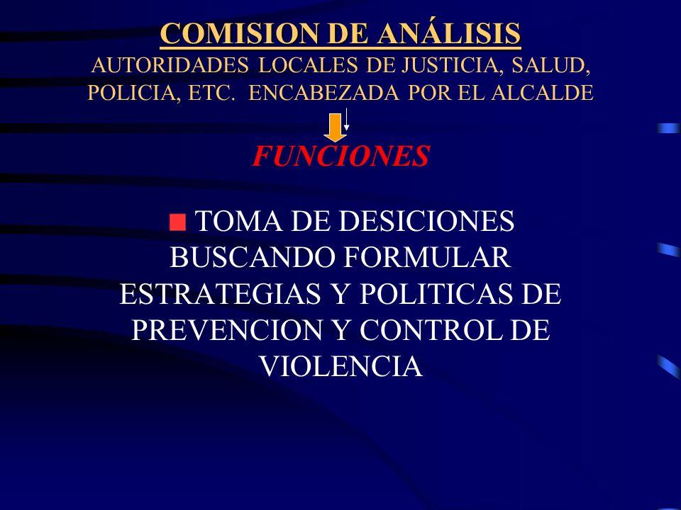 COMISION DE ANÁLISIS AUTORIDADES LOCALES DE JUSTICIA, SALUD, POLICIA, ETC. ENCABEZADA POR EL ALCALDE FUNCIONES