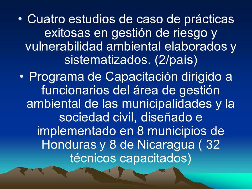 Cuatro estudios de caso de prácticas exitosas en gestión de riesgo y vulnerabilidad ambiental elaborados y sistematizados. (2/país)