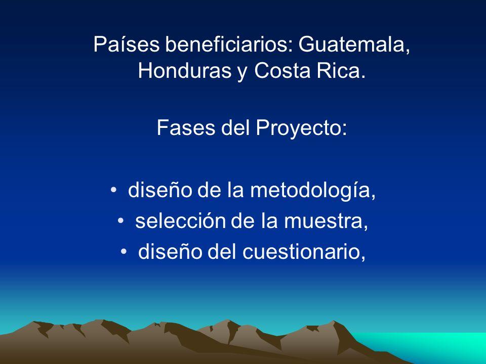 Países beneficiarios: Guatemala, Honduras y Costa Rica.