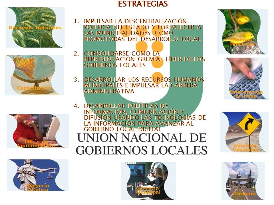 ESTRATEGIASIMPULSAR LA DESCENTRALIZACIÓN POLÍTICA DEL ESTADO Y FORTALECER A LAS MUNICIPALIDADES COMO PROMOTORAS DEL DESARROLLO LOCAL.
