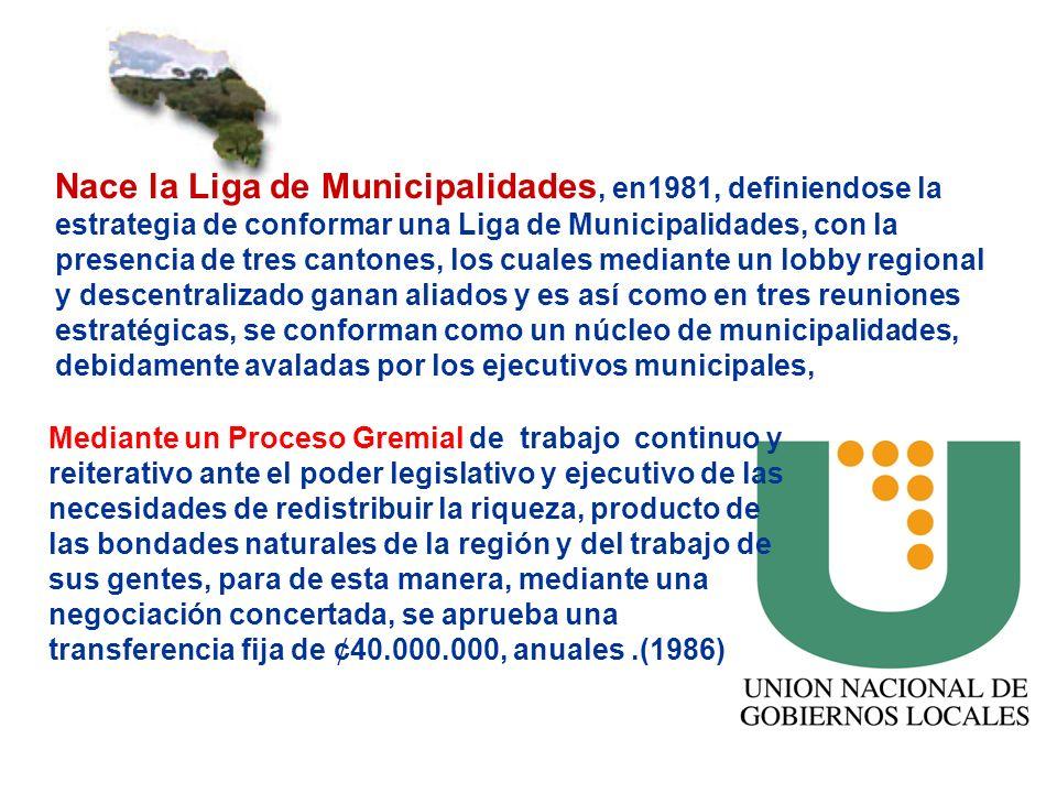Nace la Liga de Municipalidades, en1981, definiendose la estrategia de conformar una Liga de Municipalidades, con la presencia de tres cantones, los cuales mediante un lobby regional y descentralizado ganan aliados y es así como en tres reuniones estratégicas, se conforman como un núcleo de municipalidades, debidamente avaladas por los ejecutivos municipales,
