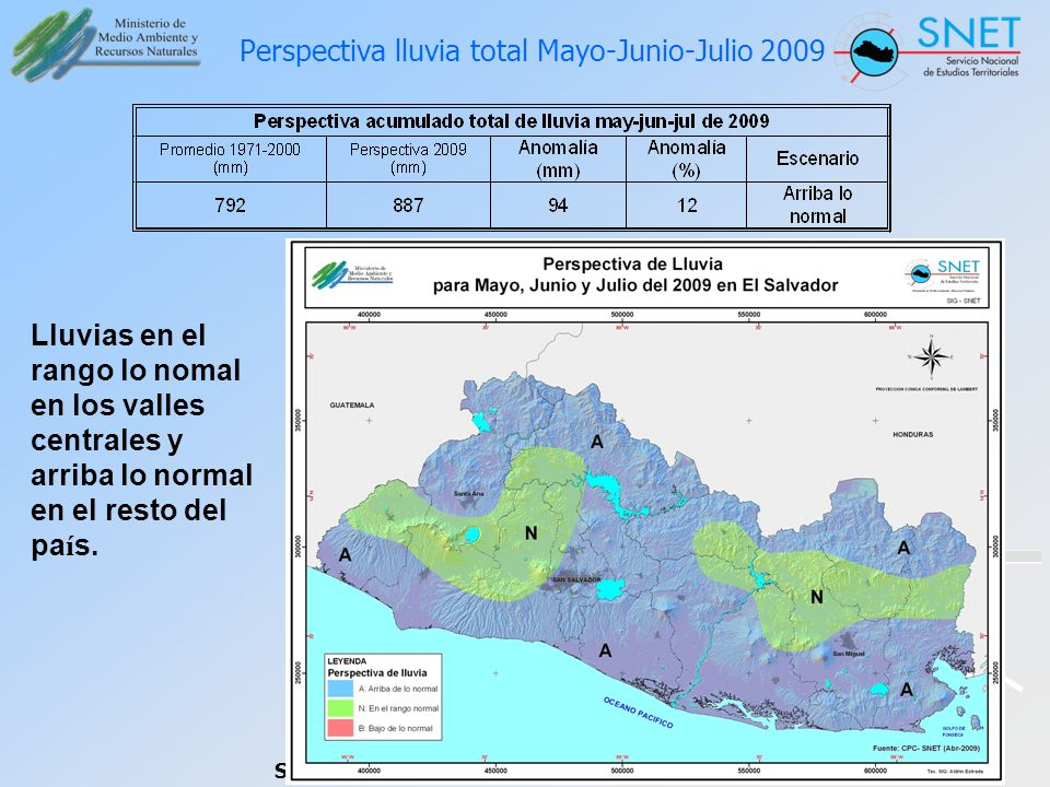 Perspectiva lluvia total Mayo-Junio-Julio 2009